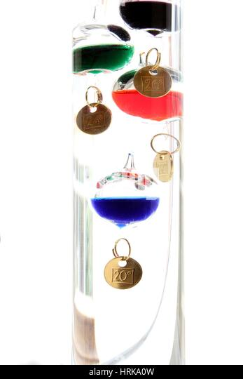 Galileo thermometer with glass balls isolated on white showing temperature - Stock Image