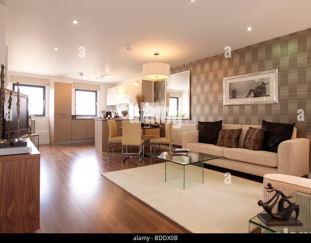 Open Plan Living Room Kitchen Stock Photos Open Plan
