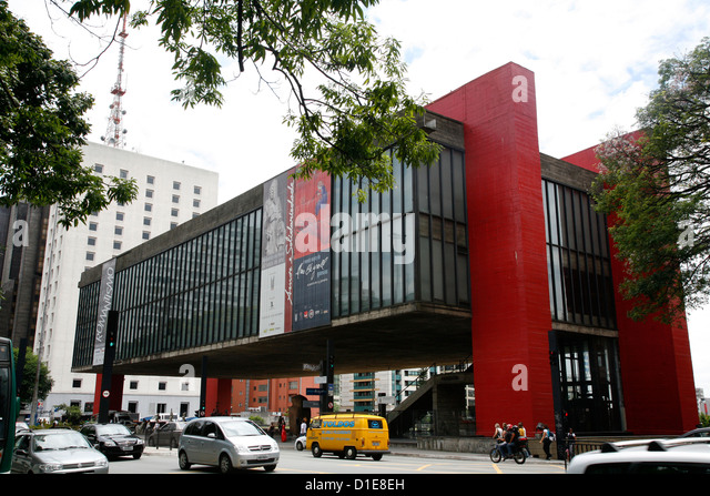 Museu de Arte de Sao Paulo (MASP) on Avenida Paulista, Sao Paulo, Brazil, South America - Stock Image