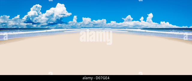 Tropical beach with open space for text - Stock Image