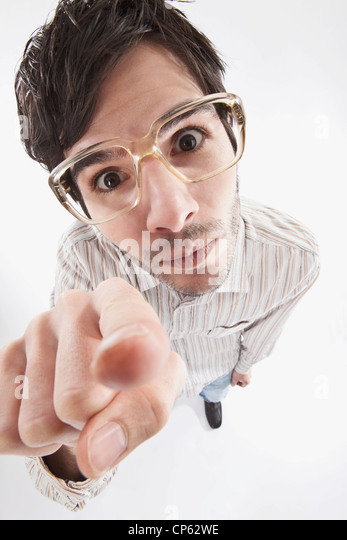 Young man with crazy glasses, portrait - Stock Image