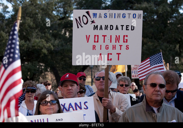 A coalition of Tea Party groups advocating diverse causes rally against Democrats and Pres. Barack Obama in Austin, - Stock Image