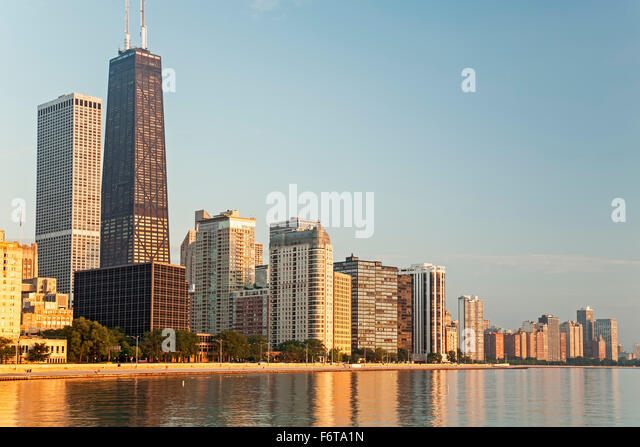 Hancock Tower (tallest), skyline and Lake Michigan, Chicago, Illinois USA - Stock Image