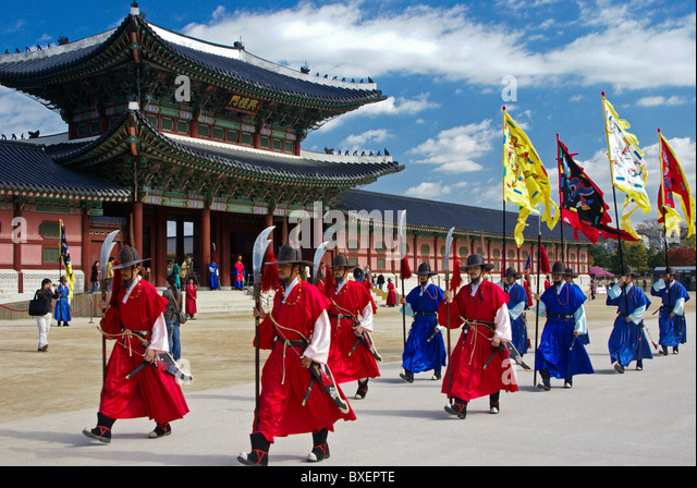 Changing of the Guard at Gyeongbokgung, Seoul, South Korea - Stock Image