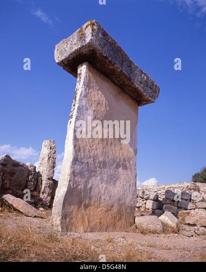 A taula at the prehistoric, archaeological site of Trepucó, near Mahon, Menorca, Balearic Islands, Spain - Stock Image