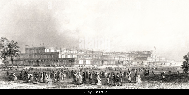 A View of The Great Exhibition of the Works of Industry of all Nations in Hyde Park, London, England, 1851. - Stock-Bilder