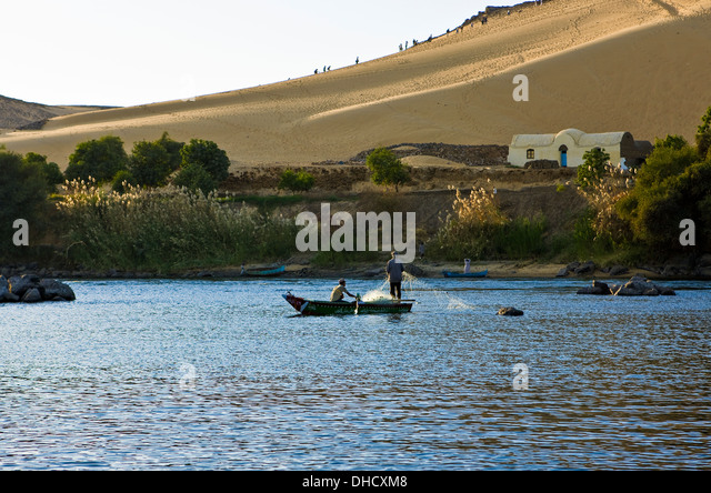 Africa Egypt, Aswan,fishermen on the Nile river - Stock Image
