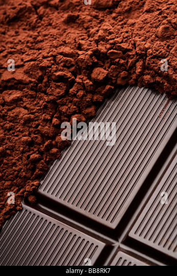 a chocolate and cocoa closeup - Stock Image