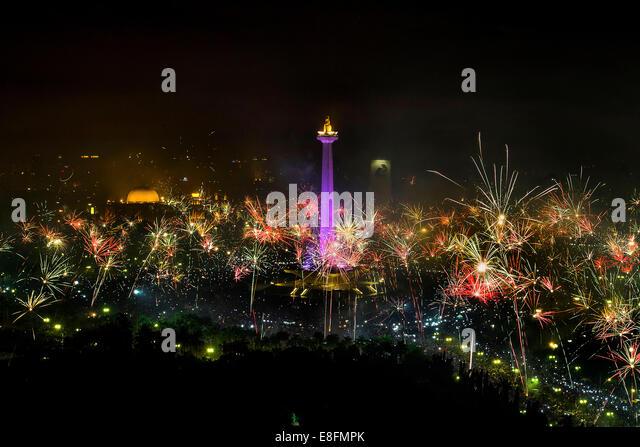 Indonesia, Jakarta, Fireworks frenzy - Stock Image
