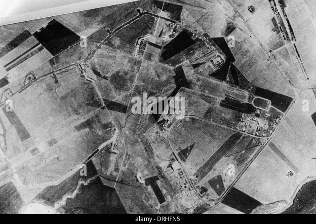 Aerial photograph of rural area, WW1 - Stock Image