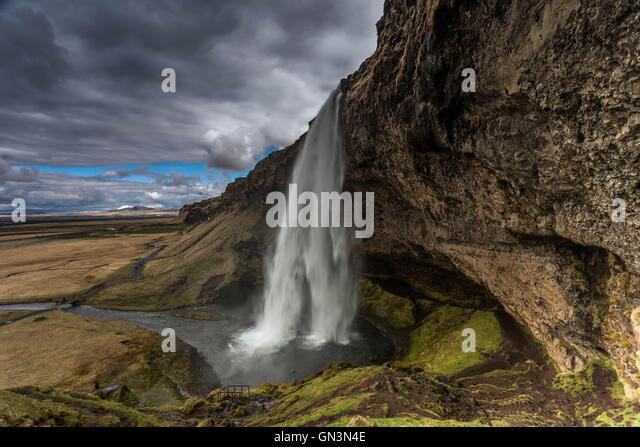 Seljalandsfoss Waterfall, Iceland Landscapes - Stock Image