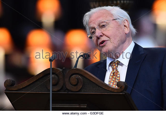 British broadcaster and naturalist David Attenborough speaks during a service of thanksgiving for Queen Elizabeth's - Stock Image