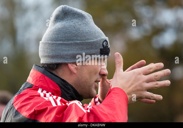 Rugby Union player, coach, manager, Martin Johnson giving a lesson to pupils at Solihull School, West Midlands. - Stock Image