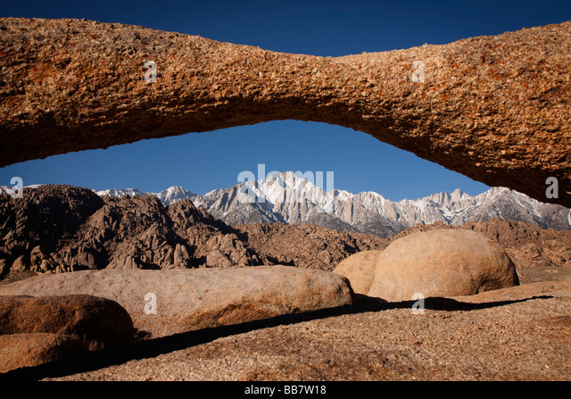 Mount Whitney seen through natural rock arch near Lone Pine in California USA - Stock Image