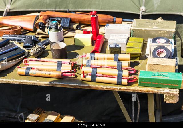 Dynamite tnt T.N.T. explosives explosive sticks stick fuse grenade grenades tape detonation devices war UK England - Stock Image