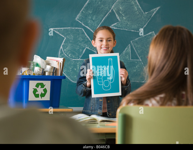 Recycling show and tell - Stock Image