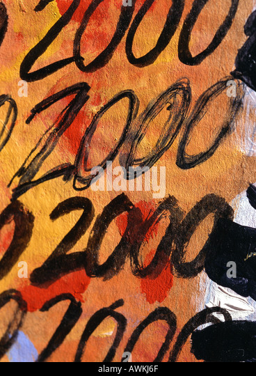2000 text, scrawled several times on paper - Stock Image