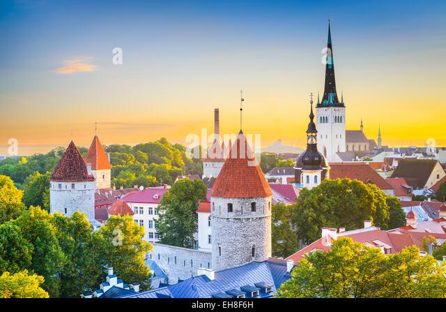 Tallinn, Estonia old city skyline. - Stock Image