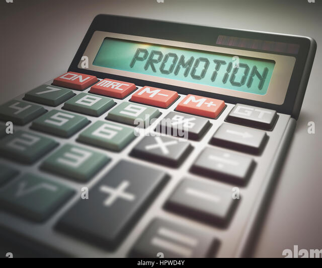 Calculator with the word promotion, illustration. - Stock-Bilder