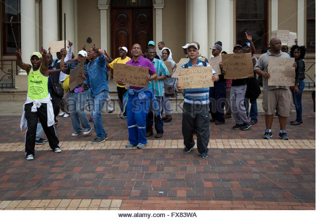 Meter readers protest against pay cuts. - Stock Image