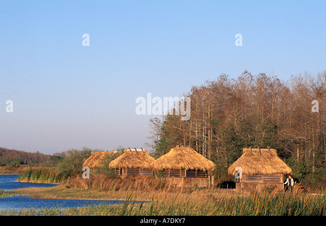 Florida Seminole Indian chickeesin the Florida Everglades - Stock Image