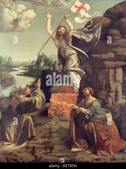 The Resurrection of Christ with Saints Leonard of Noblac and Lucia, ca 1491. Artist: Boltraffio, Giovanni Antonio - Stock Image