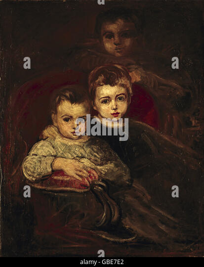 fine arts, Purkyne, Karel (1834 - 1868), children of the artist (Umelcovy deti), national gallery, Prague, - Stock-Bilder