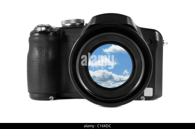 equipment digital black object photography collage sky blue cloud lens background white isolated isolation isolate - Stock Image
