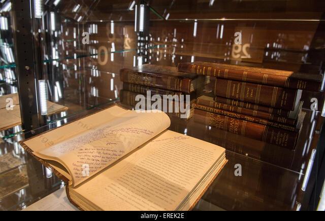 Stefan Zweig's novel 'Beware of Pity' from 1930 can be seen in a display case in the permanent exhibition - Stock Image