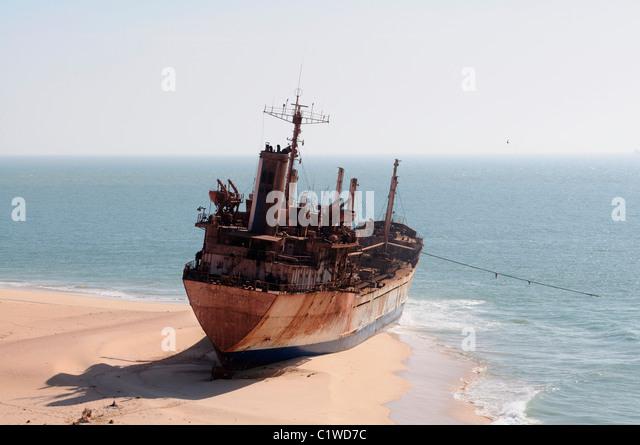 Mauritania, Nouadhibou, Cap Blanc, stranded cargo boat - Stock Image