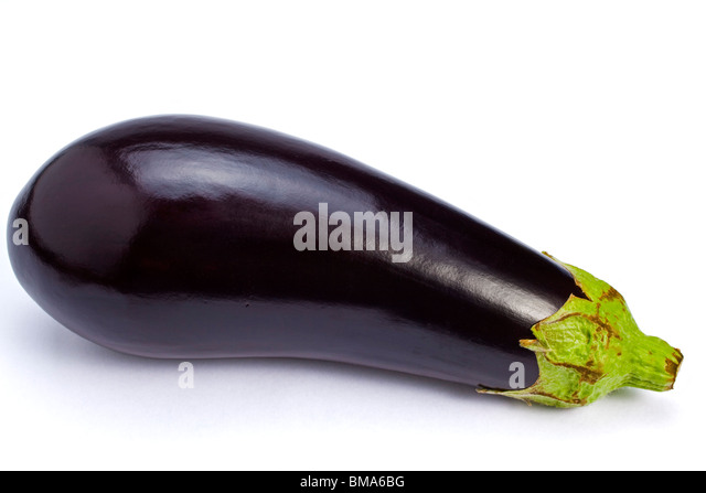 An aubergine on plain white background - Stock Image