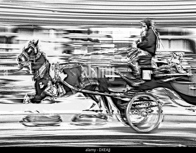 Horse and Carraige at speed.Abstract art. - Stock Image