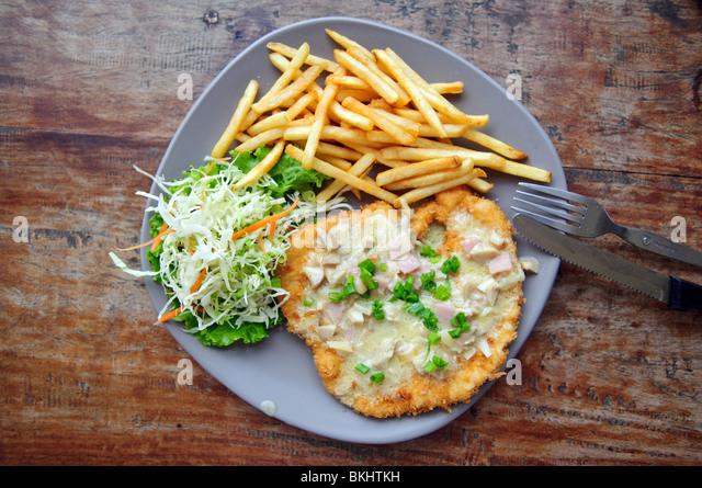 Steak with fried potato - Stock Image