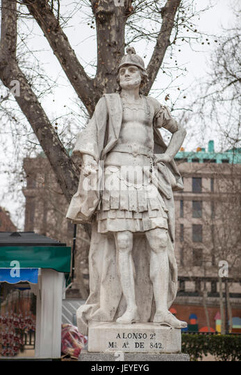 Madrid, Spain - february 26, 2017: Sculpture of Alonso II King at Plaza de Oriente, Madrid. Nicknamed the Chaste, - Stock Image