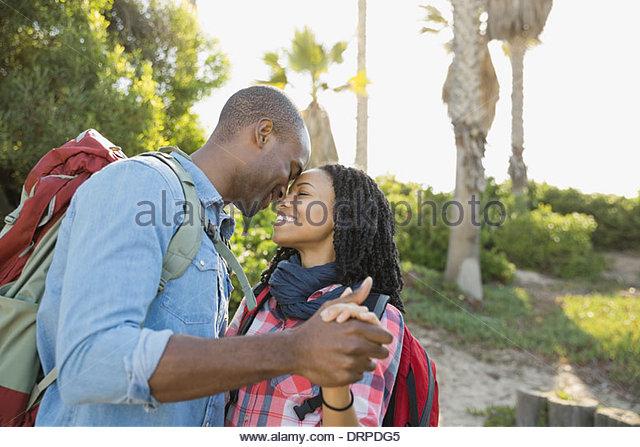 Romantic couple dancing outdoors - Stock-Bilder