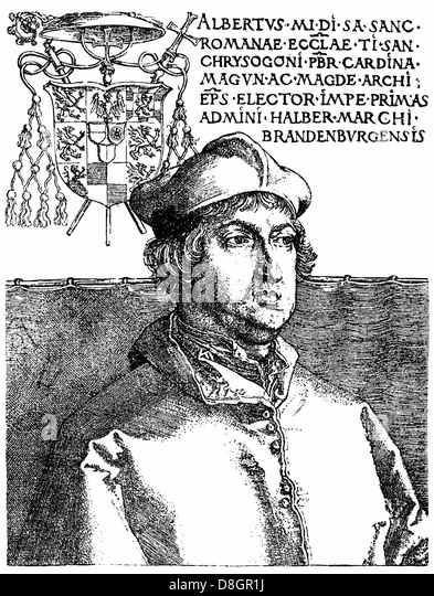 Albrecht von Hohenzollern, 1490 - 1545, Elector and Archbishop of Mainz and Magdeburg - Stock Image