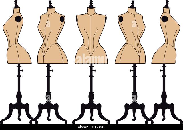 vintage fashion mannequins, vector set - Stock Image