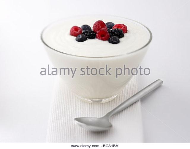 Close up of  yogurt and fruit - Stock Image