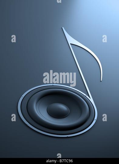 Quarter note shaped sound speaker - Stock-Bilder