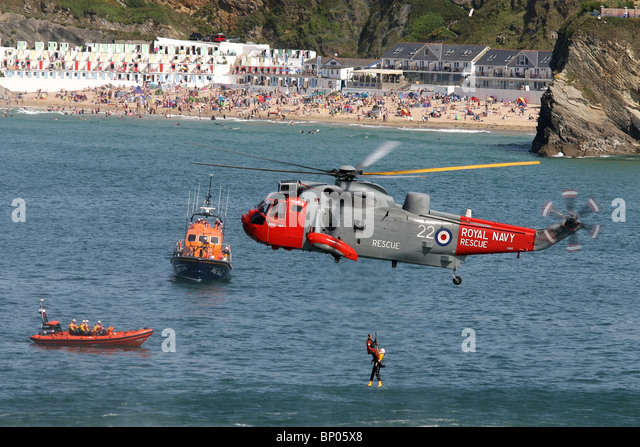 The RNLI air sea rescue display in Newquay Harbour, August 8th, 2010. - Stock Image