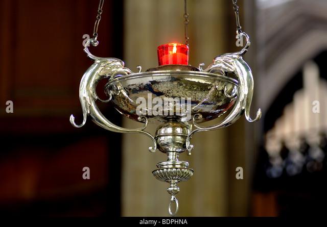 Sanctuary Lamp In Trinity Chapel, St. Paul`s Church, Bedford, Bedfordshire
