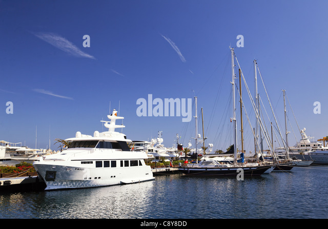 Yard in americas cup harbor in Valencia, Spain - Stock Image