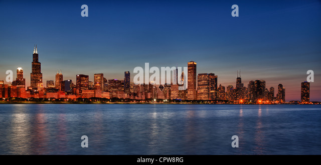 Panorama of Chicago skyline from the old observatory at sunset - Stock Image