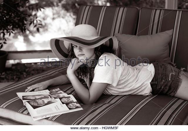 Poolside Millennial Teen - Stock-Bilder