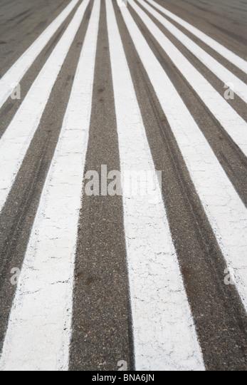 Runway, zebra crossing, for background - Stock Image