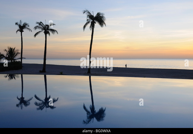 Reflections in a swimmimg pool, Sine Saloum Delta, Senegal, West Africa, Africa - Stock Image