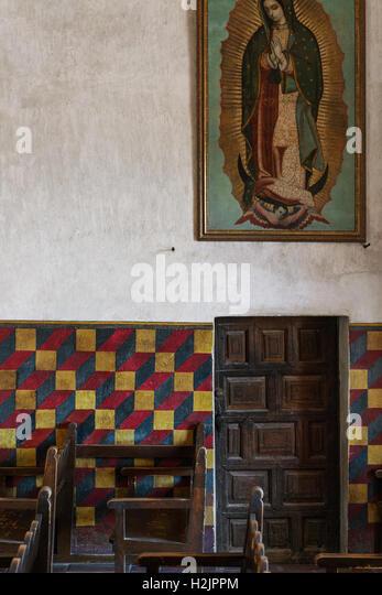 Geometric patterning inside a Catholic church in Tuscon, Arizona - Stock Image