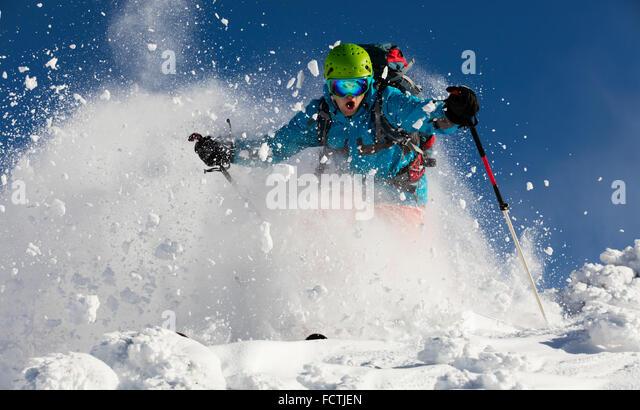 Man freerideer running downhill - Stock-Bilder