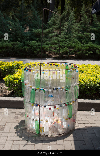 Trash bin made from recycled Water Bottles Chapultepec Park Mexico City - Stock Image
