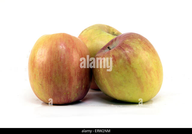 Trio of Fuji Apples - Stock Image
